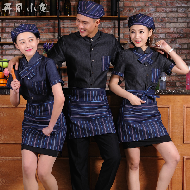 Us 18 82 18 Off 2017 New Design Hotel Waiter Denim Uniform Western Food Restaurant Work Clothing Cake Shop Server Workwear Free Shipping Uniform In