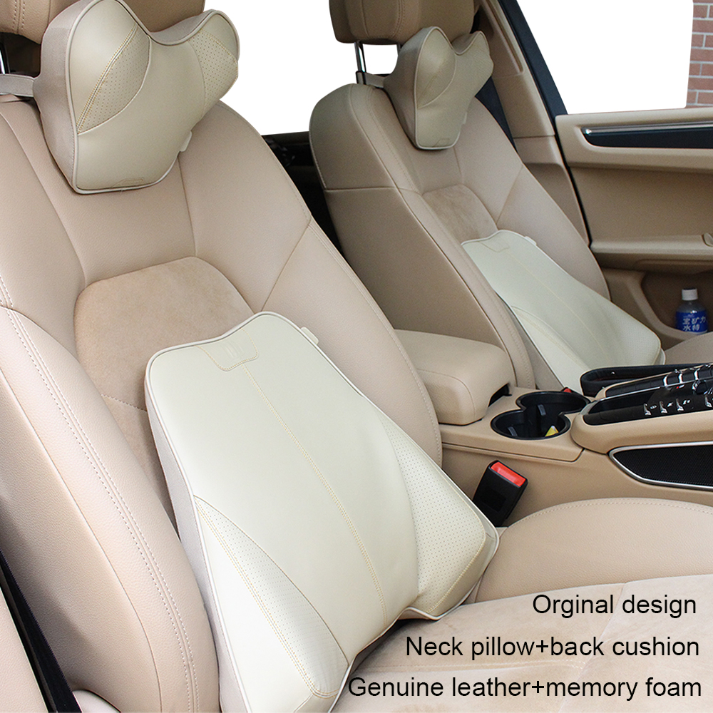 Car styling car-cover Genuine leather+memory foam head restraint car pillow back support lumbar cushion car headrest neck pillow
