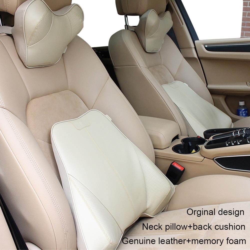 Автомобилей стайлинг автомобиля-обложки Натуральная кожа+пены памяти подголовник автомобиля подушка задней поясничная поддержка подушки автомобиль подголовник подушка шеи