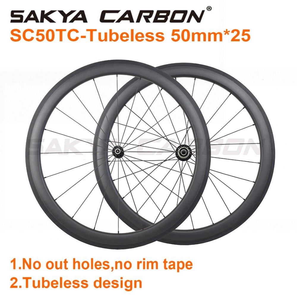 SC50TC Tubeless ホイールカスタマイズハブ 50 ミリメートルチューブレスカーボンホイール 25 ミリメートルワイド道路カーボンホイール 20/24 H 手構築バイクホイール  グループ上の スポーツ & エンターテイメント からの 自転車の車輪 の中 1