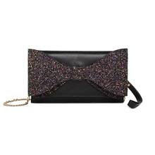 купить Bowknot Fashion Dinner Package Diamond Hand Take Package Purse With Chain Sequins Interior Compartment Wallets дешево