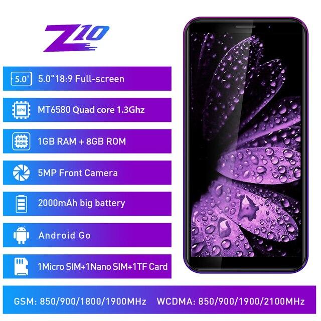 """LEAGOO Z10 telefon komórkowy z androidem 5.0 """"18:9 pełny ekran 1GB RAM 8GB ROM MT6580 czterordzeniowy 2000mAh 5MP aparat Dual SIM 3G Smartphone"""