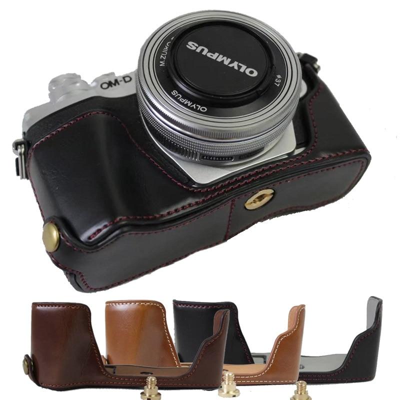 Handmade Genuine real Leather Half Camera Case bag cover for Olympus OM-D E-M5 EM5 Black Bottom opening Version