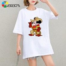 New Mickey Mouse Women Cartoon Print T-shirts Harajuku Loose Short Sleeve T Shirt Femme Party Club Plus Size Minnie Tee