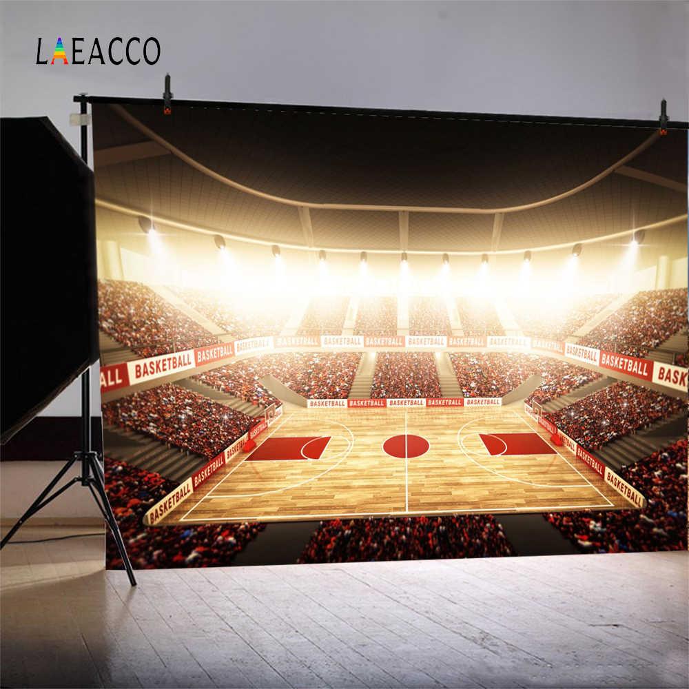 Laeacco Photo Backgrounds Nba Basketball Court Stadium Spotlight Fans Wallpaper Pattern Portrait Backdrop Photocall Photo Studio