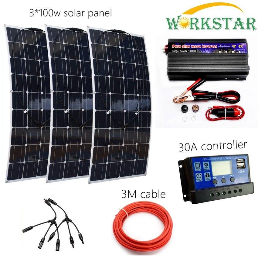Completo rejilla 300 W Sistema Solar para principiantes 3 piezas 100 W Flexible Panel Solar módulos con 1000 W inversor y 30A controlador