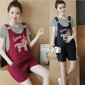 maternity clothes summer suit striped short sleeve T-shirt+bib short pants pregnant clothing for pregnancy women