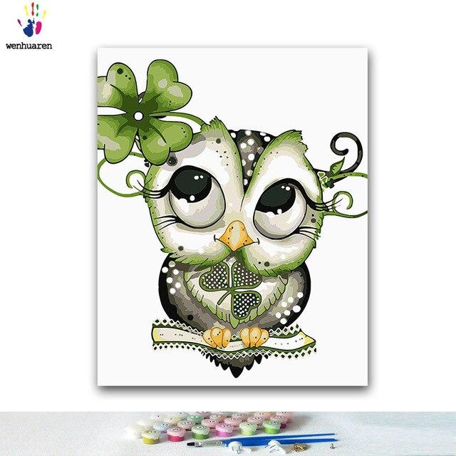 Diy Pintura Para Colorear Por Números Dibujos Animados Animales Pinturas Con Kits 40x50 Enmarcado