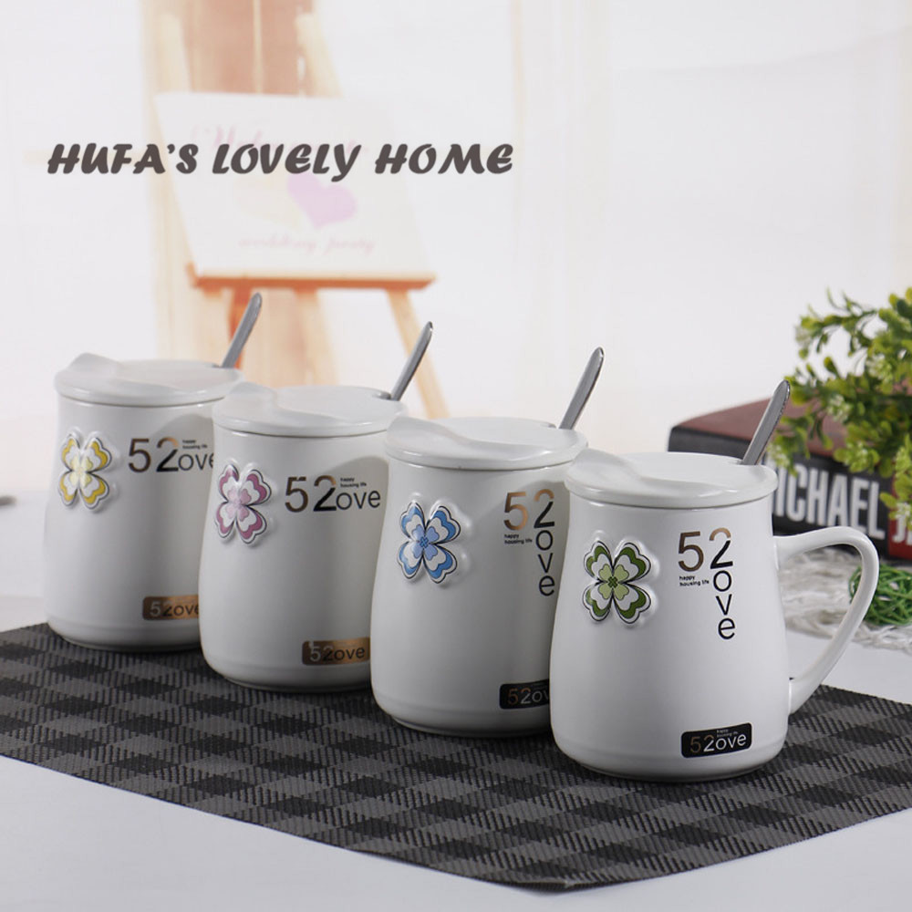 hufa The New Paragraph Four-leaf Creative Ceramic Mug With Belt Lid And Spoon Simple Cute Cup Girlfriend Friends Gift