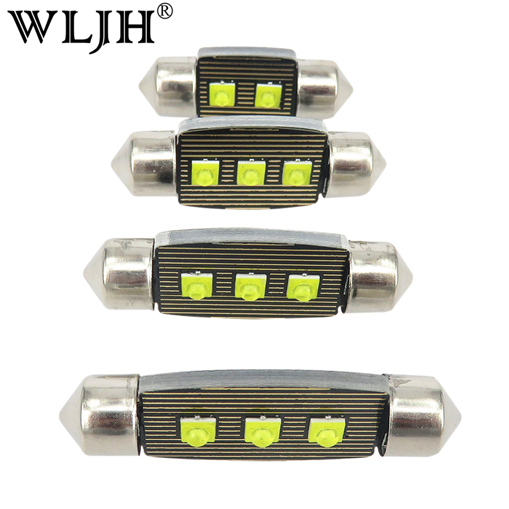WLJH 2x Festoon 31mm 36mm 39mm 41mm LED Bulb SV8.5 C5W C10W Auto Interior Dome License Plate Lights Lamp Car Styling DC12V-18V 10pcs lot led car light source c5w festoon 31 36 39 41mm auto interior bulb reading dome license plate lamp 12v white color