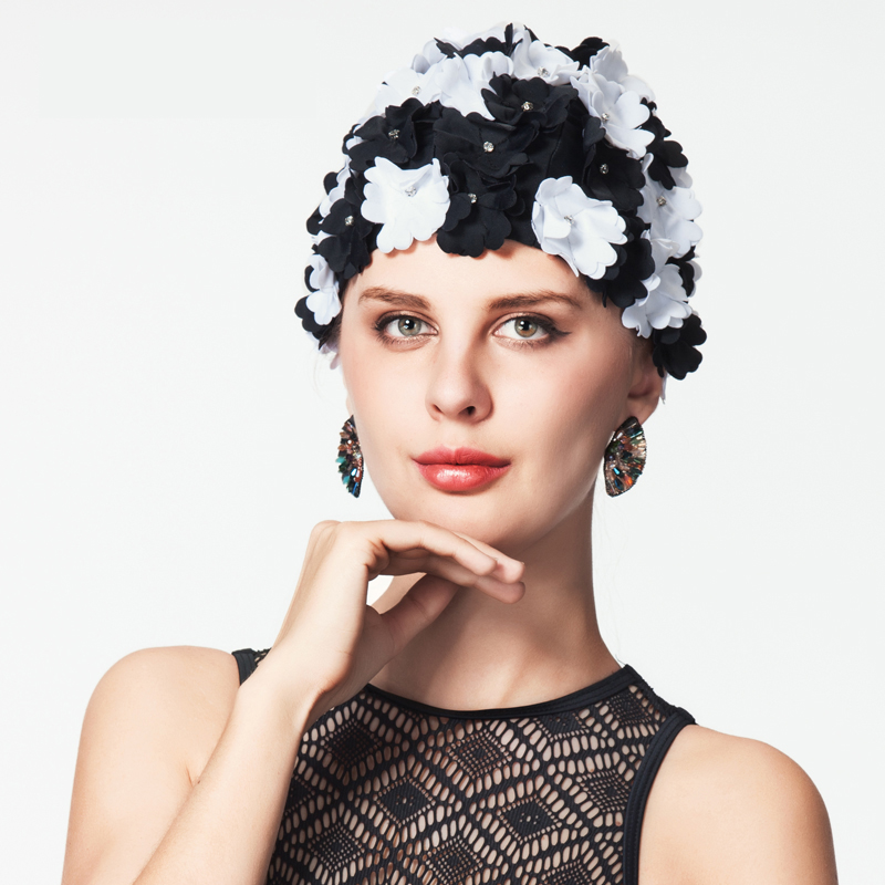 YILANG Brand 2017 New Arrival Flower Swim <font><b>Cap</b></font> For Women Swimming Hat For Long Hair Flowers Crystal Bath <font><b>Caps</b></font> <font><b>Sexy</b></font> Swimming <font><b>Caps</b></font> image