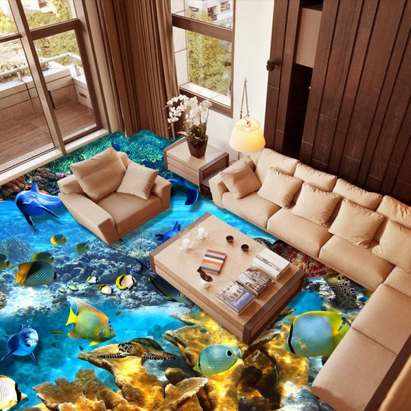 Free Shipping self-adhesice floor mural HD Underwater World Dolphin Tropical Fish 3D bathroom office Floor wallpaper