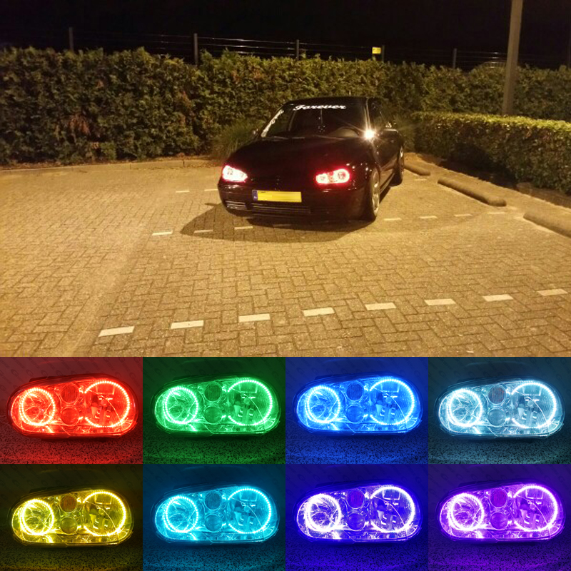For Volkswagen VW Golf MK4 R32 GTi VR6 CABRIO A4 1998-2004 Excellent Multi-Color Ultra bright RGB LED Angel Eyes kit Halo Rings hochitech excellent rgb multi color halo rings kit car styling for volkswagen vw golf 5 mk5 03 09 angel eyes wifi remote control