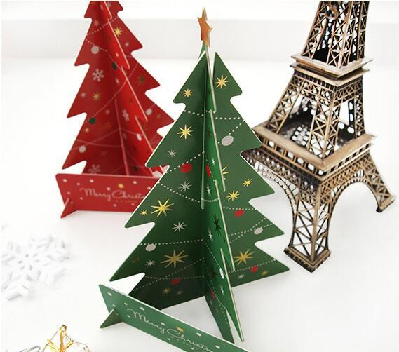 Paper Handmade 3D Christmas Tree Red And Green Two Colors