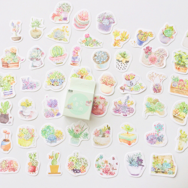 50 stickers Green Cactus Decorative Stickers
