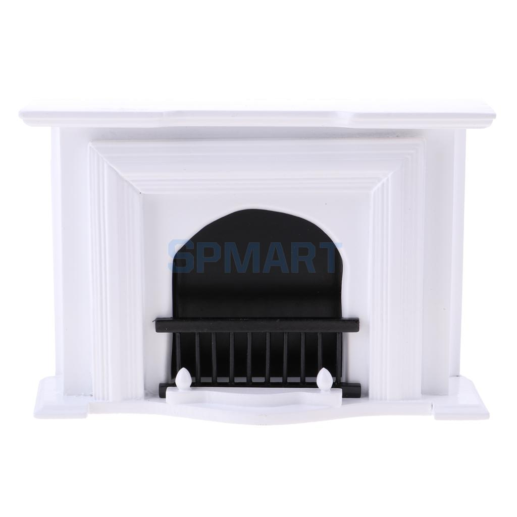 European Style 1/12 Wooden Fireplace Model Furniture for Dollhouse Living Room Bedroom Accessories Kids Pretend Play