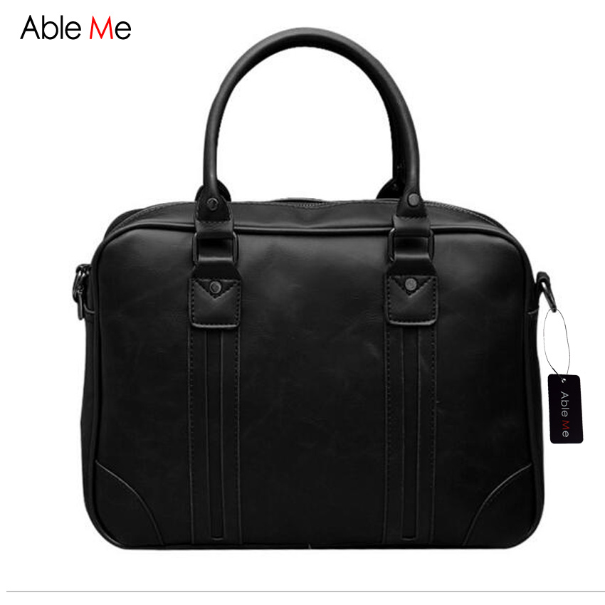 ФОТО AbleMe Business Men Handbags High Quality Crazy Horse Leather Men's Messenger Bag iPad Laptop Sling Bags Shoulder Man Handbag