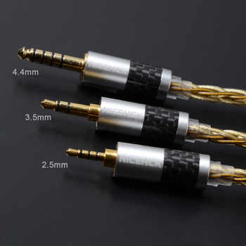 NICEHCK High Quality 8 Core Single Crystal Copper Silver Plated Cable 3.5/2.5/4.4mm MMCX/2Pin For KZAS10 CCAC16 NICEHCK NX7/F3