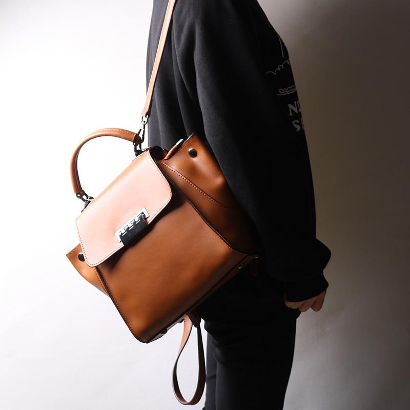 Burminsa Women Genuine Leather Backpack Trapeze Swing Shoulder Bags Designer Travel Bagpack School Bags For Teenage Girls 2019