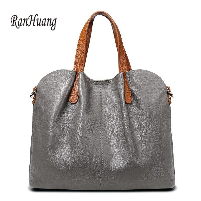 RanHuang kobiety prawdziwej skóry torebki 2018 moda torebki damskie torby na ramię ze skóry bydlęcej luksusowe torebki bolsa feminina w Torebki na ramię od Bagaże i torby na  Grupa 1