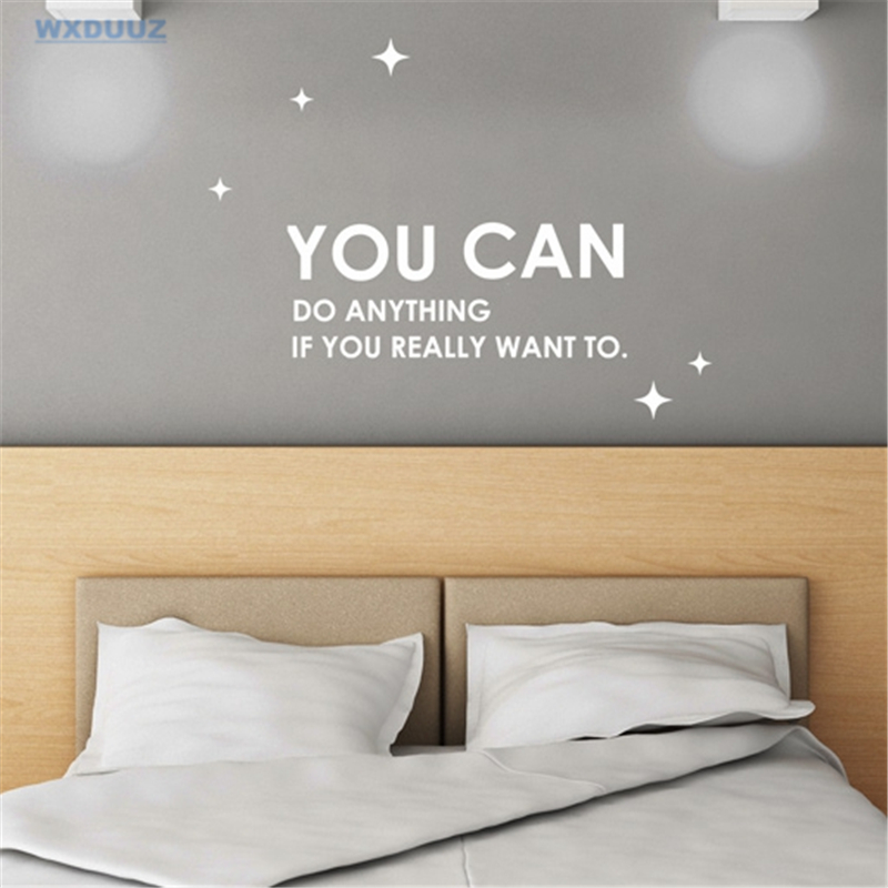 WXDUUZ Inspirational Decal YOU CAN Art Wall Sticker Home Decor Vinyl Motivation Office Decal Over The Stickers C26