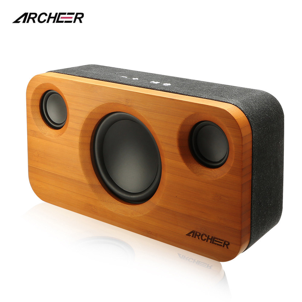 ARCHEER Wooden Bluetooth Speakers Portable Bamboo HIFI Stereo Speaker Box Dual Embedded Loudspeakers For iPhone Android