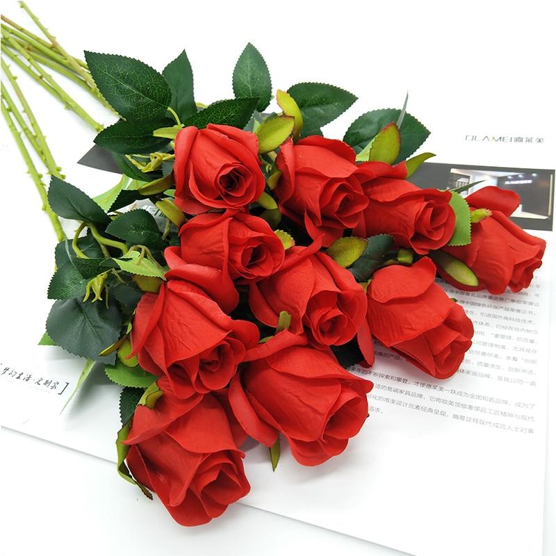 Горячие Свадебный букет невесты 10 Искусственный пены розовыми цветами украшения 10 рис/много ...