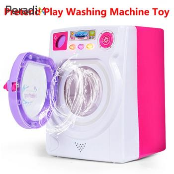 Electric Simulation Washing Machine Washer Toy Washing Machine Toy Filling Water Household Electrical Appliances Rotate Pink
