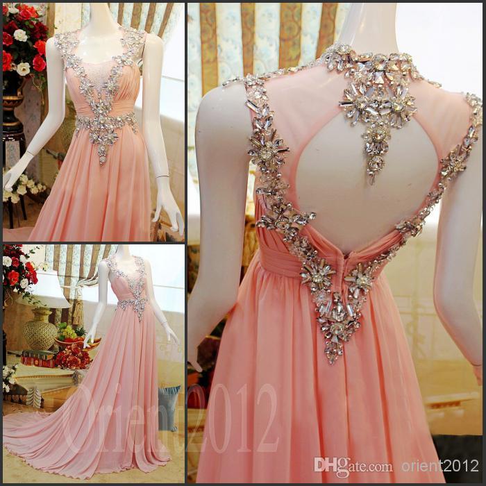 Charming Amazing Swarovski Crystals Prom dress Pink Floor Length ...