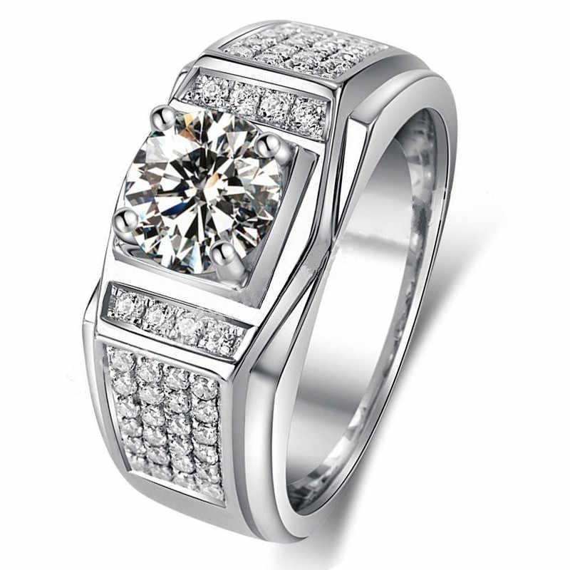 لطيف الإناث الأخضر الحجر الدائري الأزياء الفضة معبأ مجوهرات الزفاف كامل كريستال وعد خواتم الخطبة للنساء