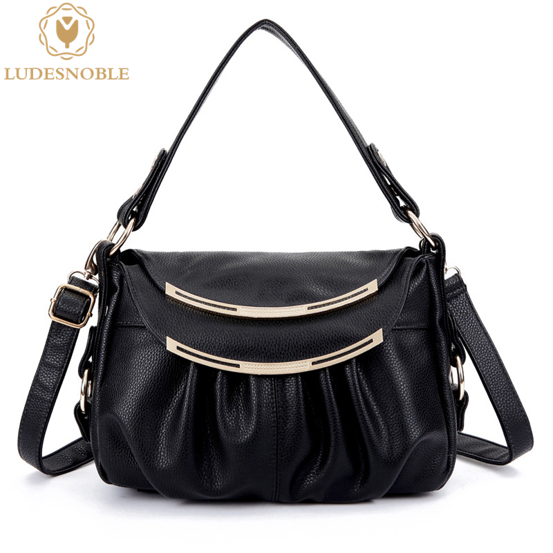 LUDESNOBLE Genuine Leather Bag Female Luxury Handbags Women Bags Designer Summer  Shoulder Bags Women Bag Female bolsa feminina qweek luxury handbags women bags designer 2017 pu leather shoulder bag female printing bolsa feminina mini flap crossbody bags