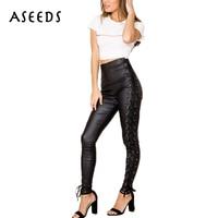 New 2017 winter high waist pants women hip hop rock side lace up black pu faux leather pants women trousers plus size