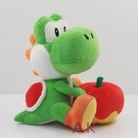 New Yoshi With Apple Plush Doll Toy 17cm Super Mario Yoshi Plush Toy Kids Christmas Gift