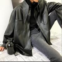 2018 new top collar leather jacket for men and fleece ulzzang leather jacket baggy college style couple pu leather shirt jacket.