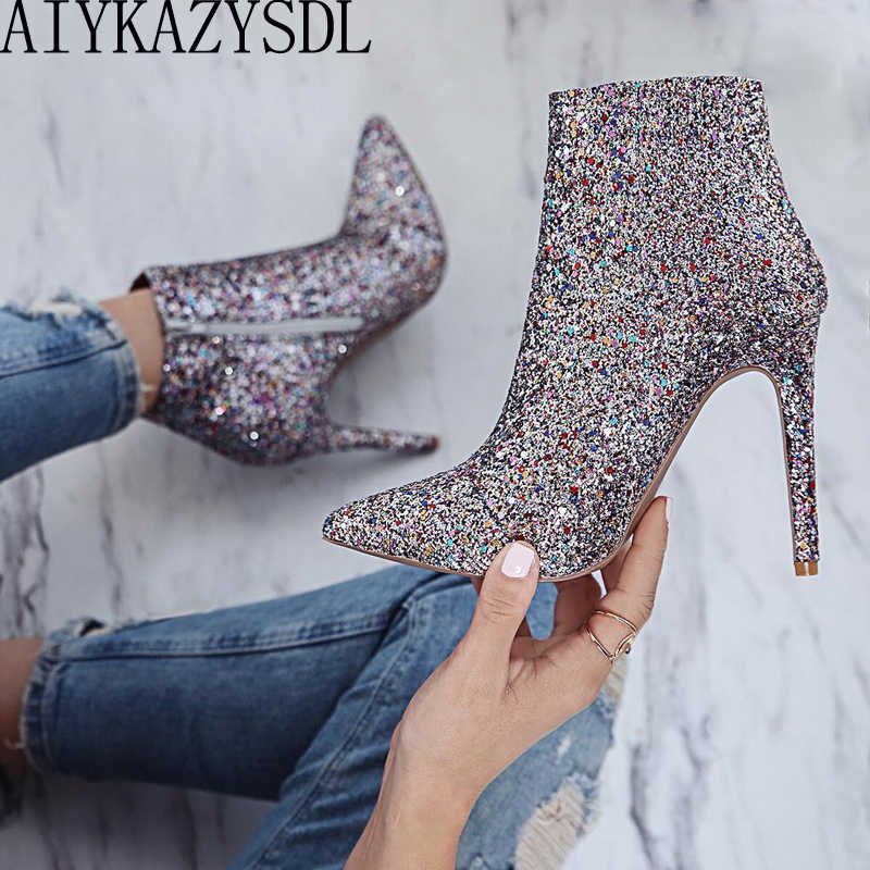 AIYKAZYSDL Lady Shine Bling Sequined Zipper Pointed Boots Short Bootie Women High Heel Shoes Autumn Pumps Stiletto Wedding Shoes