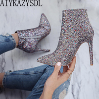 AIYKAZYSDL Lady Shine Bling Sequined Zipper Pointed Boots Short Bootie Women High Heel Shoes Autumn Pumps