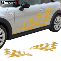 Door Side Decal Checker Flag Stickers for MINI Cooper One S Hardtop R56 Convertible R57 Roadster R59 Countryman R60 F55 F56