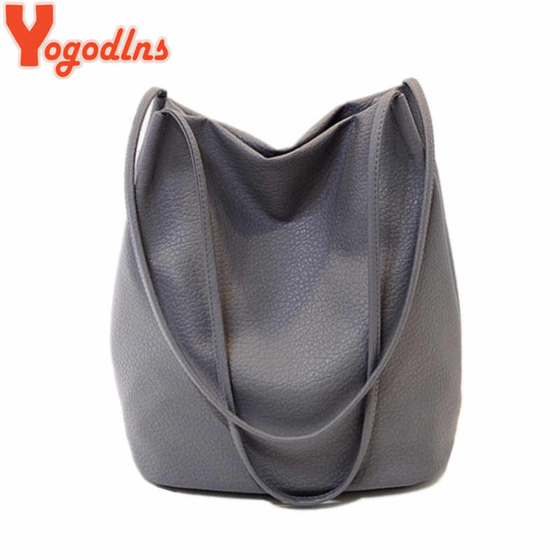 Yogodlns Women Leather Handbags Black Bucket Shoulder Bags Ladies Crossbody Bags Large Capacity Ladies Shopping Bag Bolsa