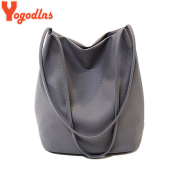 Yogodlns Women Leather Handbags Black Bucket Shoulder Bags Ladies Cross Body Bags Large Capacity Ladies Shopping Bag Bolsa
