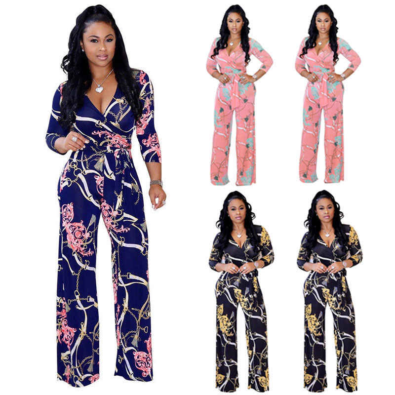9398f7a6cc1b4 2018 Summer New Style Fashion Casual Women V Neck Loose Playsuit Party  Romper Long Sleeve Jumpsuit Floral