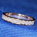 Queen Brilliance Роскошные 1.5 Карат 3 мм F Цвет Обручальное кольцо свадебные Moissanite Diamond Band Для Женщин Твердые 14 К 585 Роза золото