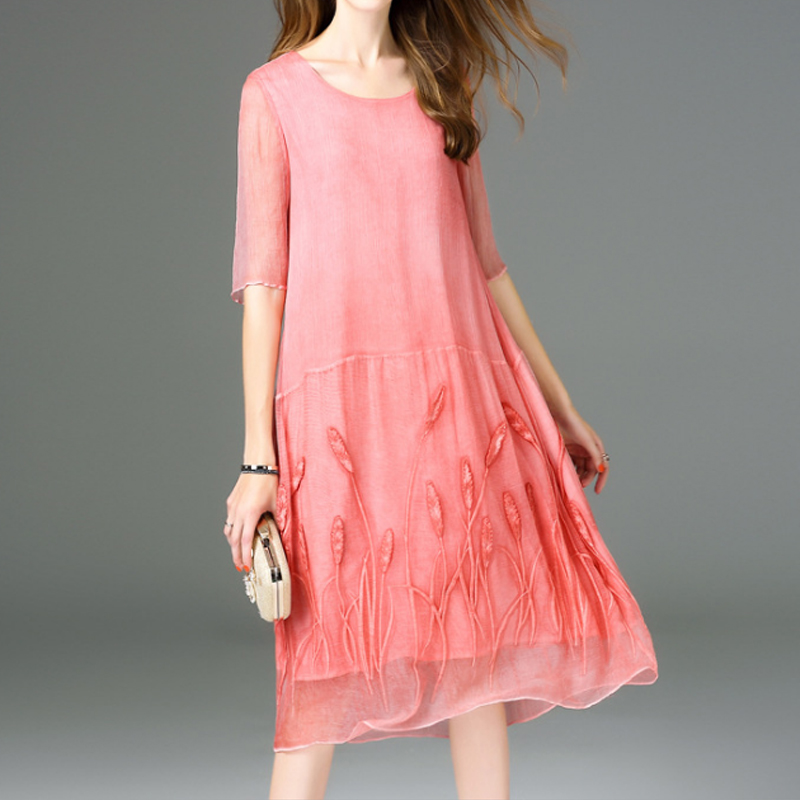 Real Silk Embroidered Dress Womens A-Line Dresses Summer Pink Dress Female Beach Party Clothes Natural Silk Dress High Quality