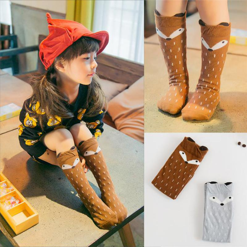 Baby Calcetines Girls Boy Cartoon Fox Design Knee Autumn Winter Warmers Stockings Kids Cotton Warm Hose Christmas Gifts For baba
