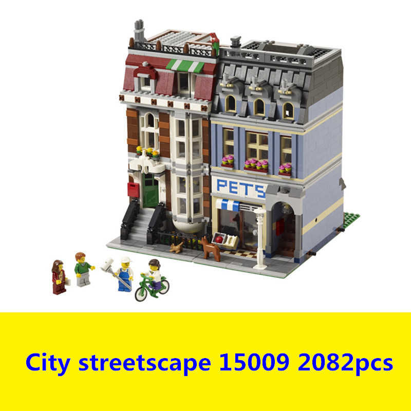 LEPIN 15009 pet shop Compatible legoing pet shop 10218 City series Supermarket Model City Street Building Blocks Toys lepin 15009 city street pet shop model building kid blocks bricks assembling toys compatible 10218 educational toy funny gift