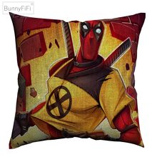 Deadpool Marvel Superhero Art Cotton Linen Cushion Cover 45 x 45 cm For Sofa Chair Pillow Case Home Decor Almofada(China)