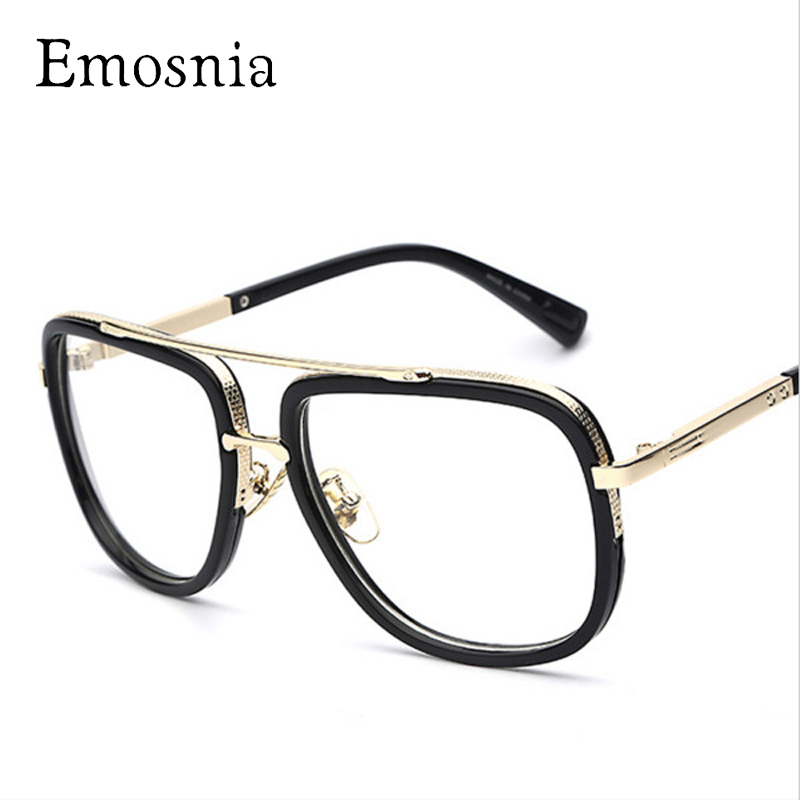 Emosnia 2017 Men Transparent Clear Sun Glasses Big Square Frame Brand Designer Vintage Mens Sunglasses Goggle Classic Eyewear