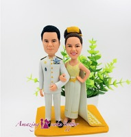 2019 AMAZING CAKE TOPPER Military uniform elegant wedding dress Toys Custom Polymer Clay Figure From Pictures