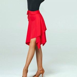 Image 5 - Saia de dança latina vermelha/preta irregular, saia cha/rumba/samba/tango vestidos para prática de dança/performamnce dancewear