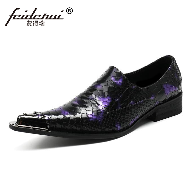 Plus Size Luxury Pointed Toe Slip on Man Alligator Wedding Party Loafers Genuine Leather Men's Runway Club Shoes For Male SL77 plus size pointed toe slip on man glitter punk loafers luxury genuine leather studded wedding party men s runway shoes sl31