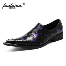 Plus Size Luxury Pointed Toe Slip on Man Alligator Wedding Party Loafers Genuine Leather font b